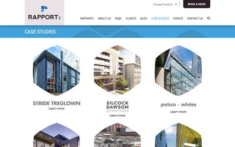 Screenshot of Case Studies Page cubic-interactive.com - Project management for construction, architects and engineers. Case Studies Rapport3 by Cubic Interactive. - captured Nov. 12, 2016