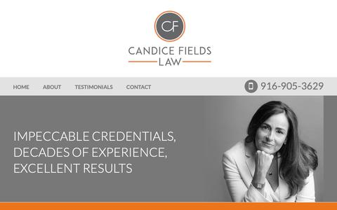 Screenshot of About Page candicefieldslaw.com - About Candice Fields Law | Sacramento Federal Criminal Defense Attorney - captured Nov. 4, 2018