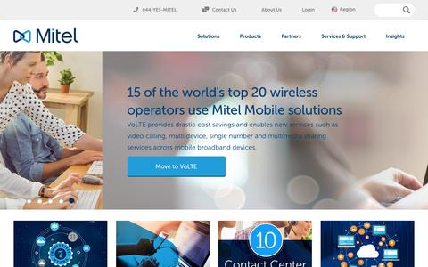 Screenshot of Home Page mitel.com - Mitel Communications - captured Jan. 15, 2016