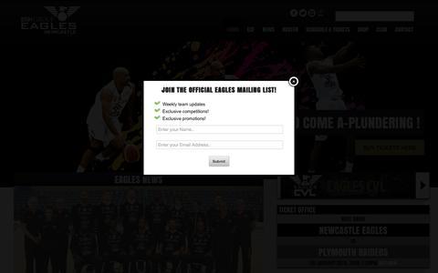 Screenshot of Home Page newcastle-eagles.com - Newcastle Eagles - Newcastle Eagles Basketball Club - captured Jan. 27, 2015