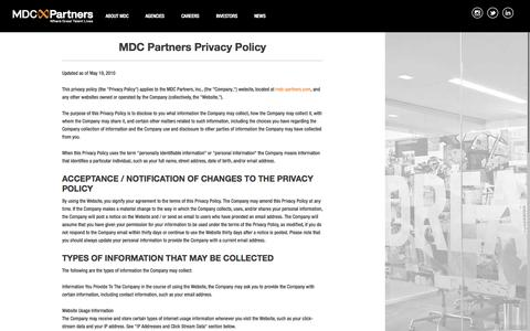 Screenshot of Home Page Privacy Page mdc-partners.com - MDC Partners | Strategic & Creative Marketing Agencies - captured Sept. 25, 2014