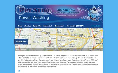 Screenshot of About Page prestigestl.com - About Us|Providing Reliable Power washing services in Fenton MO - captured Nov. 11, 2018