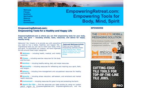 Screenshot of Home Page empoweringretreat.com - EmpoweringRetreat.com: Tools for a Healthy and Happy Life - captured Oct. 11, 2015