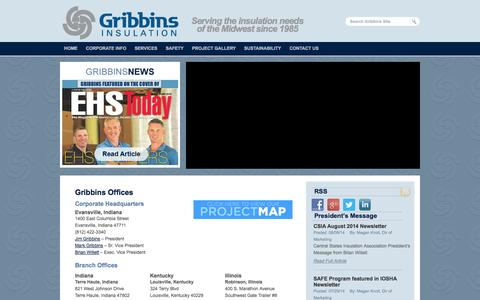 Screenshot of Contact Page Locations Page gribbins.com - Gribbins Insulation Office and Current Jobsite Locations | Gribbins Insulation - captured Oct. 23, 2014