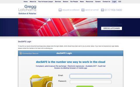 Screenshot of Login Page gregglatchams.com - DocSAFE LoginSolicitors and Notaries - Bristol - captured Oct. 3, 2014