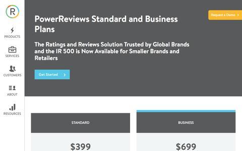 Screenshot of Pricing Page powerreviews.com - PowerReviews Standard & Business Plans • PowerReviews - captured Nov. 13, 2016