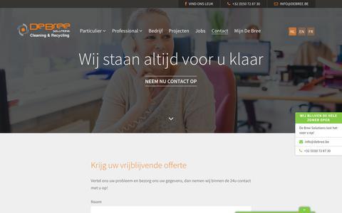Screenshot of Contact Page debree.be - De Bree Solutions | Reinigings- of afvalprobleem? De Bree Solutions weet raad: info@debree.be. - captured Nov. 13, 2018
