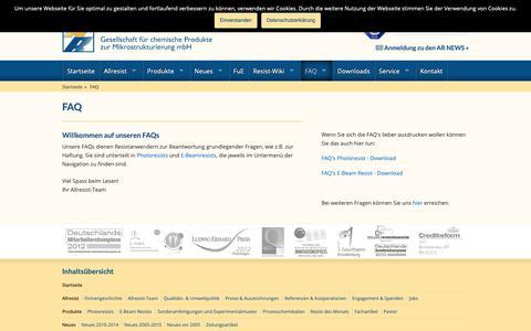 Screenshot of FAQ Page allresist.de - FAQ - Allresist DE - ALLRESIST GmbH – Strausberg, Germany - captured Oct. 3, 2018