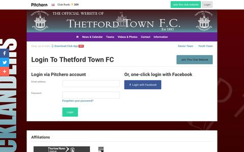Screenshot of Login Page pitchero.com - Thetford Town FC - captured Jan. 28, 2018