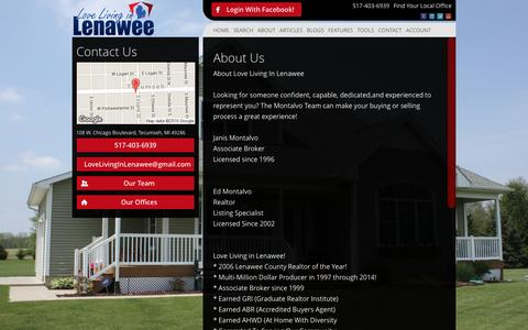 Screenshot of About Page lovelivinginlenawee.com - About Living In Lenawee Realty - captured Jan. 31, 2016