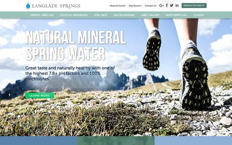 Screenshot of Home Page langladesprings.com - Langlade Springs | Private Label Spring Water | Eco Friendly Water Bottles | Wisconsin Bottled Water | Branded Bottled Water - captured July 9, 2017