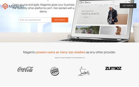 Screenshot of Landing Page magento.com - Magento Digital Commerce - captured May 22, 2017