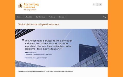 Screenshot of Testimonials Page accountingservices.com.mt - Testimonials - accountingservices.com.mtaccountingservices.com.mt - captured Feb. 5, 2016