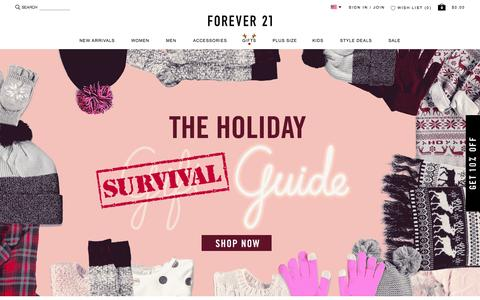 Screenshot of Home Page forever21.com - Shop Forever 21 for the latest trends and the best deals | Forever 21 - captured Nov. 23, 2015