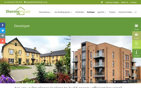 Screenshot of Developers Page thermohouse.co.uk - Thermohouse system for residential and commercial developments - captured Oct. 18, 2018