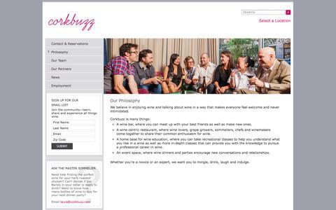 Screenshot of About Page corkbuzz.com - Corkbuzz Wine Bar, Classes, Events - Our Philosophy | Corkbuzz Wine Studio - captured Sept. 25, 2014