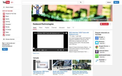 Screenshot of YouTube Page youtube.com - KadzoomTechnologies  - YouTube - captured Oct. 25, 2014