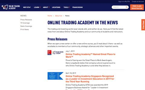 Screenshot of Press Page tradingacademy.com - Latest News and Press Releases | Online Trading Academy - captured July 19, 2019