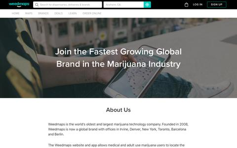 Screenshot of Jobs Page weedmaps.com - Weedmaps | Careers - captured Nov. 11, 2018