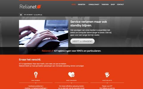 Screenshot of Home Page relianet.be - Relianet. ICT oplossingen voor KMO's en particulieren. - captured Oct. 7, 2014