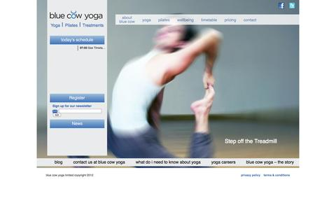 Screenshot of Home Page bluecowyoga.com - Yoga in the City - Blue Cow YogaBlue Cow Yoga | blue cow yoga is all about yoga, pilates and luxurious treatments. - captured Sept. 30, 2014