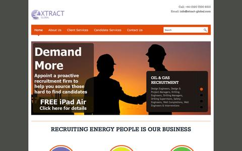 Screenshot of Home Page xtract-global.com - Xtract Global | Oil and Gas Recruitment Agent |Oil & Gas Careers 2014 - captured Sept. 30, 2014