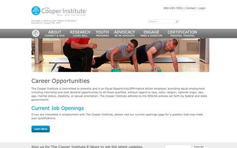 Screenshot of Jobs Page cooperinstitute.org - Career Opportunities - Cooper Institute - captured April 14, 2019