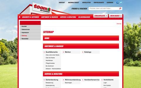 Screenshot of Site Map Page toom-baumarkt.de - toom Baumarkt: Sitemap - captured Sept. 19, 2014