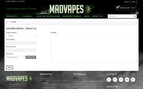 Screenshot of Contact Page madvapes.com - Contact us - Madvapes - captured June 27, 2017