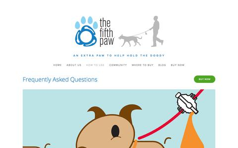 Screenshot of FAQ Page thefifthpaw.com - The Fifth Paw: Hands-Free Dog Poop Bag Holder/faq — The Fifth Paw - captured Nov. 7, 2017