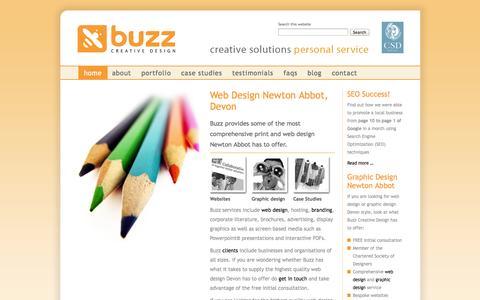 Screenshot of Home Page buzz-creative.co.uk - Buzz - graphic design & web design Newton Abbot - captured Oct. 5, 2014