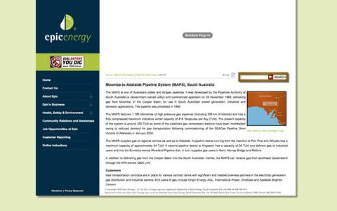 Screenshot of Maps & Directions Page epicenergy.com.au - Epic Energy - Moomba to Adelaide Pipeline System (MAPS), South Australia - captured Nov. 9, 2016