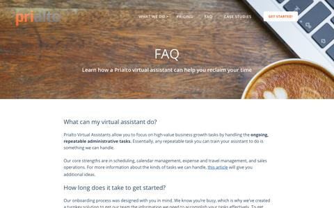 Screenshot of FAQ Page prialto.com - FAQ - captured Nov. 28, 2017