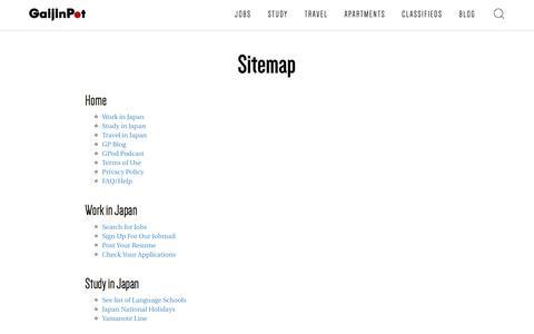 Screenshot of Site Map Page gaijinpot.com - Site Map - GaijinPot - captured July 11, 2016