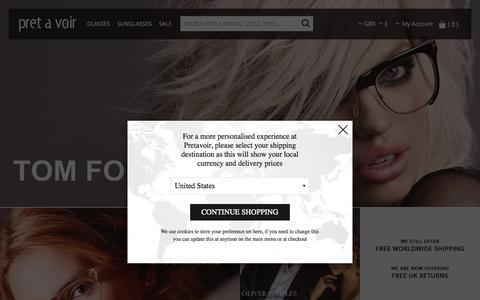 Screenshot of Home Page pretavoir.co.uk - TOM FORD Glasses | Prescription Eyewear | Pretavoir - captured Oct. 1, 2015