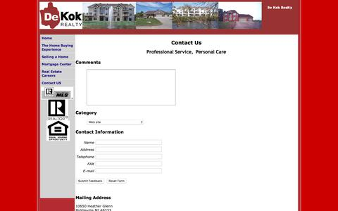 Screenshot of Contact Page dekokrealty.com - Contact Us At De Kok Realty - captured Sept. 20, 2018