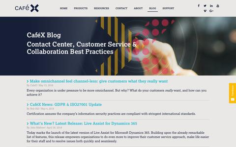 Screenshot of Blog cafex.com - Real-Time Communications & Contact Center Best Practices  - Page 1 - captured July 12, 2018
