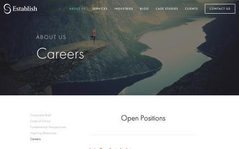Screenshot of Jobs Page establishinc.com - Establish Careers — Establish Inc. - captured Sept. 29, 2018