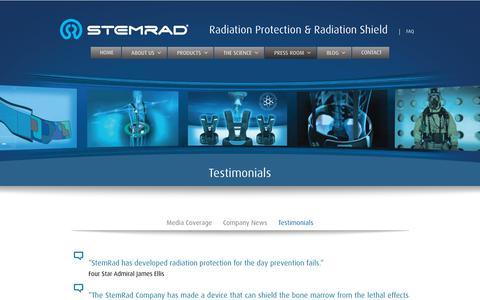 Screenshot of Testimonials Page stemrad.com - Testimonials and comments | StemRad - captured Oct. 20, 2018