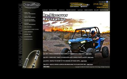 Screenshot of Home Page radflo.com - Radflo Suspension Technology  - HOME - captured Aug. 12, 2015