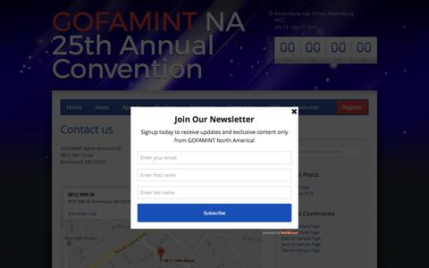 Screenshot of Contact Page gofamintusa.org - Contact us – GOFAMINT North America Convention | July 13 – July 17, 2016 - captured Feb. 24, 2017