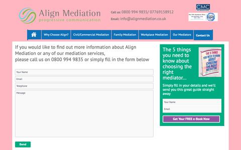 Screenshot of Contact Page alignmediation.co.uk - Contact Us – Align Mediation - captured Oct. 3, 2018