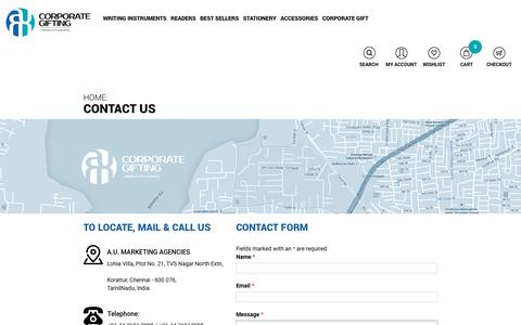 Screenshot of Contact Page aumgifts.com - Contact US - AUM GIFTS - captured Nov. 18, 2016