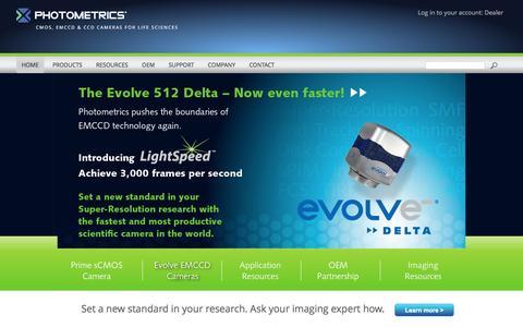 Screenshot of Home Page photometrics.com - Photometrics High Performance Scientific EMCCD and CCD Cameras - captured Dec. 9, 2015
