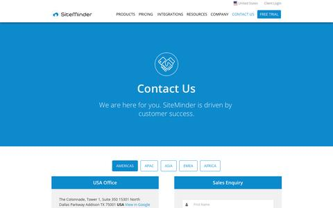 Contact SiteMinder for Sales or Support