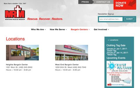 Screenshot of Locations Page montanarescuemission.org - Locations - Montana Rescue MissionMontana Rescue Mission - captured June 16, 2017