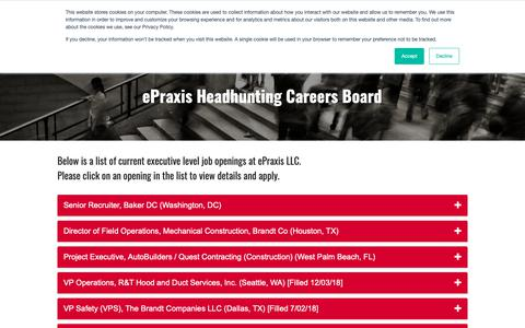 Screenshot of Jobs Page epraxis.com - Careers 2018 - captured Feb. 10, 2019