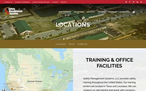 Screenshot of Locations Page safetyms.com - Locations - Safety Management Systems, An Acadian Company - captured Oct. 1, 2018