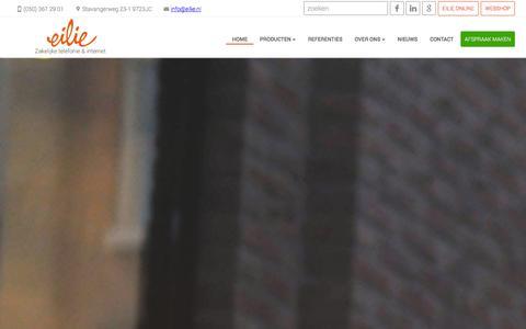 Screenshot of Home Page eilie.nl - Op zoek naar zakelijk VOIP, mobiel en internet? - Eilie.nl - captured Jan. 27, 2016