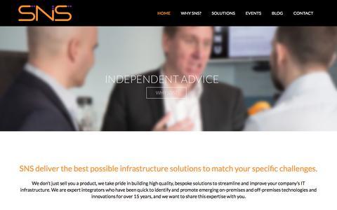 Screenshot of Home Page snsltd.co.uk - SNS Ltd - IT Infrastructure Solutions - captured Sept. 21, 2017